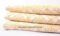 5 Yard Indian Yellow Fabric Hand Block Iket Print 100% Cotton Dabu Fabric