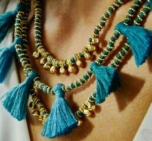 Bluma Project 3 Tier Layered Luna Necklace Fringe Beads Adjustable Artisan Made