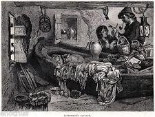 CASA DI UN PESCATORE CALABRESE. Costumi. Mestieri. Calabria. Stampa Antica. 1877