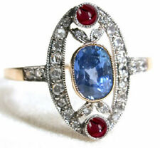 Victorian Look 925 Silver Cocktail Ring 3.75cts Rose Cut Diamond Ruby Sapphire