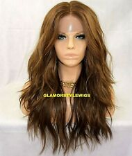 HUMAN HAIR BLEND LACE FRONT FULL WIG LONG  WAVY LAYERED BROWN AUBURN BLONDE MIX