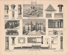 1895. ARCHITECTURE OF ANCIENT EGYPT. Antique print