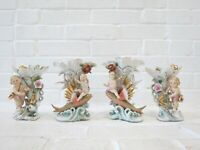Antique Porcelain Vases Set Figurines Cherubs Nymphs Fish Camille Naudot Style