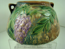 Roseville Pottery MINT 1933 WISTERIA INK-BLUE Handled Vase Jardiniere Bowl 242-4