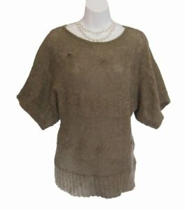 Mohair Sweater Size M 6 8 LOVE STITCH Novelty Cable Knit Fuzzy Hairy S/S Taupe