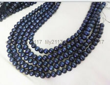 Wholesale 5 strands 8-9mm Genuine black pearl  Loose Beads 15 inch
