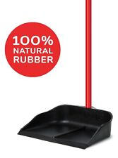 Dustpan with Handle Solid of 100% Natural Rubber Construction, Stand Up Design