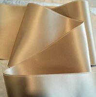 """4""""  WIDE SWISS DOUBLE FACE SATIN RIBBON- CHAMPAGNE BEIGE  - BY THE YARD"""
