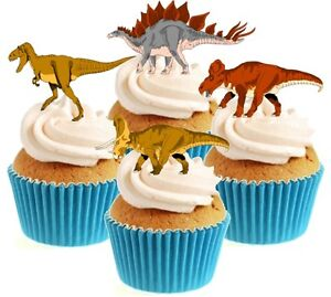 Novelty Dinosaur Mix 12 Edible Stand Up wafer paper cake toppers birthday