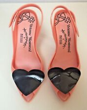 Vivienne Westwood Anglomania + Melissa pumps heels shoes peach w/ black hearts 7