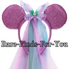 Disney Parks Minnie Mouse Glittery Ears Fairy Wings Bow with Veil Headband (NEW)