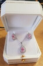 White gold finish pearcut Pink sapphire created diamond necklace and earrings