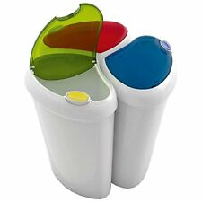 90 Litre Waste Recycling Laundry Sorting Plastic Bins Boxes + Hinged Push Lids!
