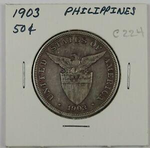C224 Philippines, 1903 AR 50 Centavos, Philadelphia Mint D
