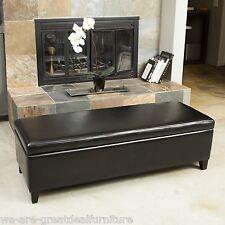 Black Leather Storage Ottoman Bench