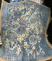 Pottery Barn Floral Denim Pillow Cover Blue 18 sq Embroidered Farmhouse New