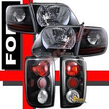 1997-2002 Ford Expedition Black Headlights Corner & Tail Lights Dark Smoke RH+LH