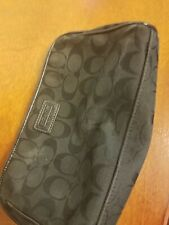 COACH Black Cosmetic Case Make Up Canvas Logo Travel Pouch