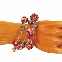 Cherry Red Glass Pearl Shell Chip Silver Tone Charm Handmade Wrap Coil Bracelet