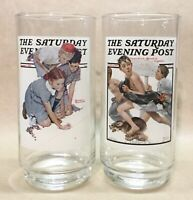 Vintage Norman Rockwell Saturday Evening Post Glasses - Arby's 1987 - Set of 2