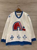Vintage Quebec Nordiques Blank NHL CCM Maska Air Knit Jersey Size XL
