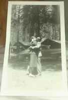 Vintage Photo of Couple Man Woman Kissing at Camp Site at Bass Lake California