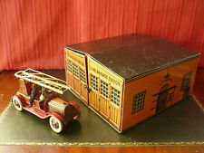 1930s Tippco TCO Tin Fire Brigade Station w/ Greppert & Kelch Wind-up Fire Truck