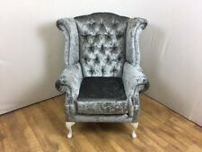 Steel Grey Crushed Velvet Queen Anne Wing Chair with silver studs