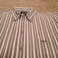 NEW Helly Hansen Mens Short Sleeve Button-Up Shirt 3XL Tan White Striped