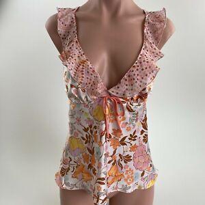 Victoria's Secret Satin Ruffle V Neck Floral Camisole Sleepwear Top  Size M  NWT