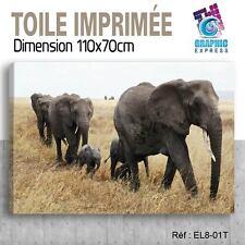 110x70cm - TOILE IMPRIMEE- TABLEAU  POSTER DECO - ELEPHANT FELIN - EL8-01T