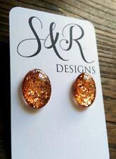 Oval Glass Resin Glitter Stud Earrings Stainless Steel Rose Gold Copper Glitter