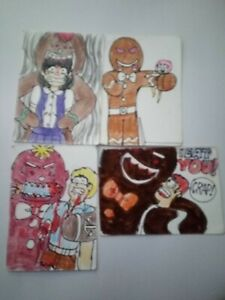 Special Xmas in July ACEO Set - GINGERBREAD REVENGE HORROR