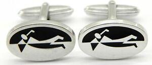 Solid Silver & Enamel Dunhill Golf Cufflinks.