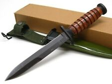 "BROWN Leather Handle Straight 11-7/8"" Fixed WWII M3 TRENCH Knife + Sheath 211133"