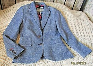 Wool mix tweed jacket / blazer by JOULES Size 10 Blue and multi fleck
