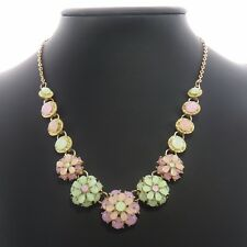 Pastel Flowers & Gold-Tone Elegant Necklace ladies womens jewellery UK SELLER