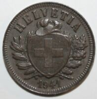 Swiss Confederation 2 Rappen Coin 1941 B KM# 4.2a Switzerland Helvetia Two