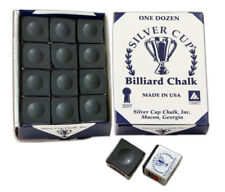BLACK 1 BOX of 12 Pieces Pool-Snooker-Billiard Table SILVER CUP Cues Tips Chalks