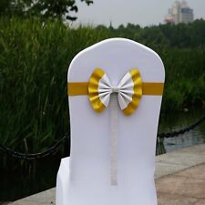Spandex Elastic Chair Cover Sash Ribbon Bow Decoration for Wedding Party Banquet