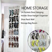 24 Pockets Pink/Blue/White Clear Over Door Hanging Bag Shoe Rack Tidy Organizer