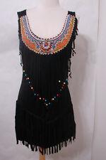 Black Indian Beaded Fringe Sleeveless Stretchy Dress NWOT M