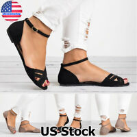 Women Casual Ankle Strap Peep Toe Flat Sandals Summer Beach Comfy Shoes Size 5-9