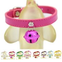 Pets Cat Dog Collar PU Leather Adjustable With Bell No Sound Pup Kitten Necklace