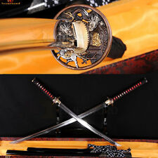 JAPANESE SWORD SET KATANA + WAKIZASHI T10 STEEL CLAY TEMPERED BATTLE SHARP BLADE