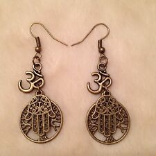 Bronze Ohm Tree of Life Hamsa Hand Charm Earrings
