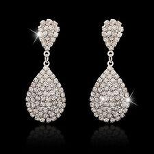 Wedding Party Silver Rhinestone Crystal Teardrop Diamante Bridal Dangle Earrings