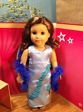 "Girl Doll Clothes Fits 18"" American Doll Dress Gown Party Wedding Boa Handmade"