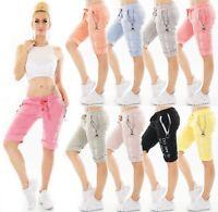ITALY Damen Capri Shorts Bermuda kurze Hose Baggy Chino Schriftzug Zip 36-40