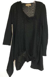 M Zuza Bart Point Hem Artsy Sweater Tunic Boucle Knit Lagenlook